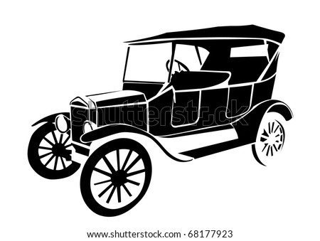 old vintage car isolated on