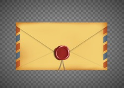 Old vintage closed envelope with a wax seal. Isolated on a transparent background. Vector illustration