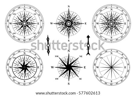 Old Vintage Compass Vector Rose Of Wind