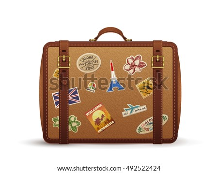 Old vintage leather suitcase with travel stickers, vector illustration isolated on white