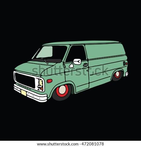 old vintage low van  vector