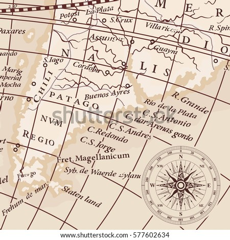Old vintage map of South America continent and compass wind rose.