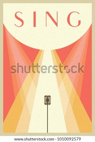 Old Vintage microphone background. Minimalist retro poster