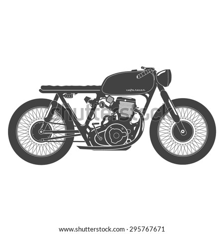 Old vintage motorcycle cafe racer theme