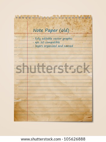 Old Vintage Note Paper, Blank Sheet | EPS10 Vector Graphic | Layers Organized and Named