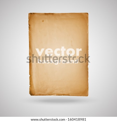old vintage paper sheet isolated vector background