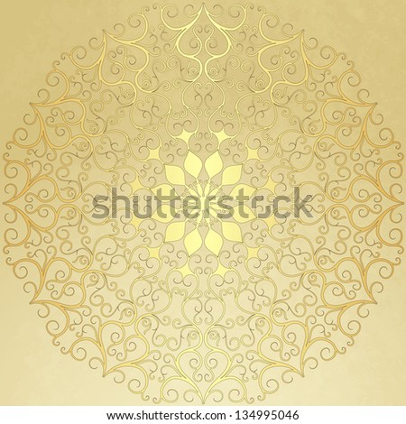 Old vintage paper with gold round pattern vector EPS 10