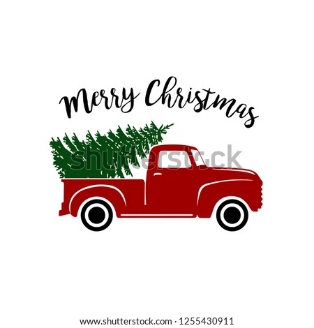 Old vintage red christmas truck with pine tree (cut file) - vector clipart