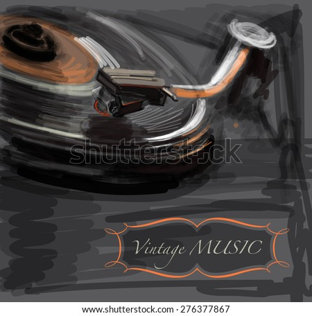 old vintage turntable   vector...