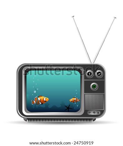 old vintage tv with aquarium