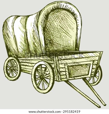 old wagon. vector image