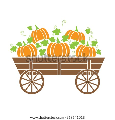 old wagon with a pumpkin