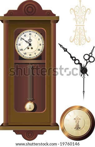 old wall clock - stock vector