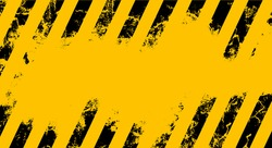 Old warning sign with black stripes on yellow background.