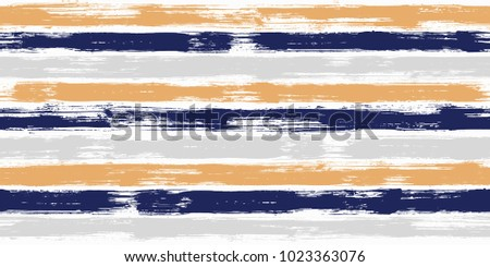 Old watercolor brush stripes seamless pattern. Orange, blue and grey paintbrush lines horizontal seamless texture for backdrop. Hand drown paint strokes graphic artwork. For fabric.