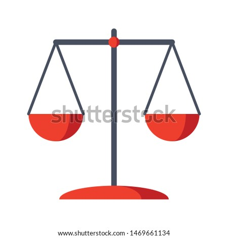 Old weighing scale or scales of justice icon