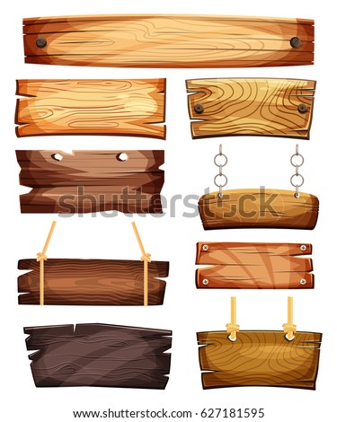 Old west empty signboards or wood plank. Blank wooden boards with nails for banners or messages hanging on chains or ropes. Rustic cartoon signpost or billboard, notice and information theme
