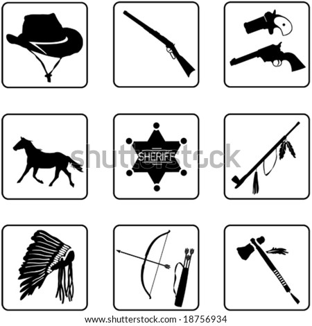 old west symbols silhouettes