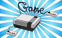 Old white retro vintage antique hipster game console for video games and two joysticks from the 80's, 90's against the background of blue rays. Vector illustration