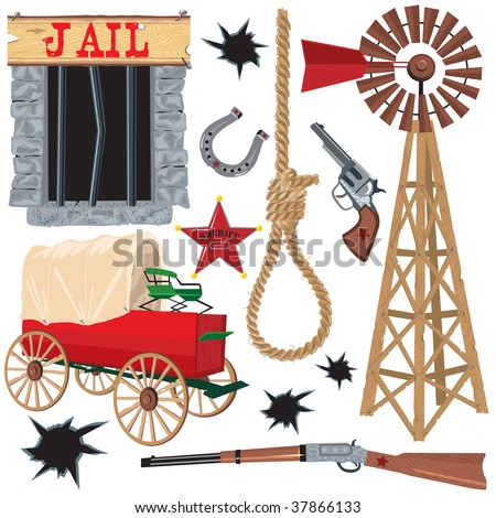old wild west icons  isolated