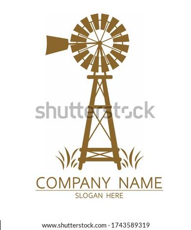 Old Windmill Logo Design Vector ストックフォト ©