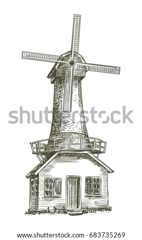 old windmill vector sketch on