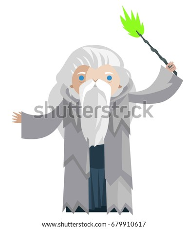 old wizard with magical wand
