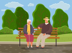 Old woman and man are resting and sitting on bench in park. Grandmother with cane smiling at man in hat. Rendezvous of retirees from nursing home. Elderly people spend time talking together outdoors