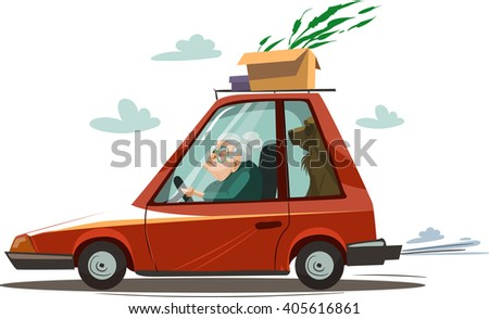 old woman drive a red car