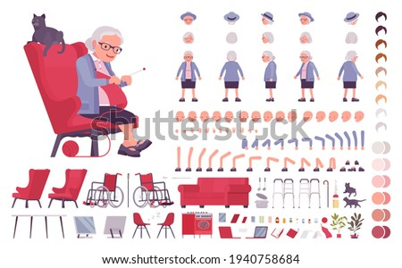 Old woman, elderly person construction set. Senior citizen, retired grandmother, old age pensioner, lonely grandma. Cartoon flat style infographic illustration, different emotions, skin, hair tones