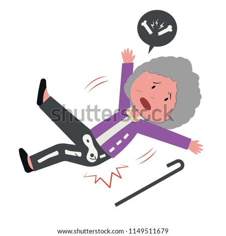 old woman falling and got bone fracture flat cartoon character design