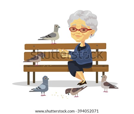 old woman feeding birds vector
