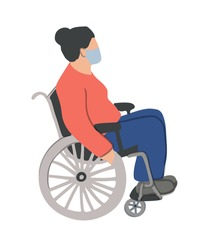 old woman is sitting in a wheelchair and wearing face mask. Unfaced elderly female with physical disabilities. Flat cartoon vector illustration. Prevention or protect coronavirus concept.