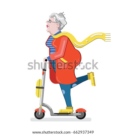 Old woman on the scooter. Grandmother silhouette. Old progressive woman. Flat style modern vector illustration isolated on white background. Senior having fun. Old woman enjoying her hobbies.