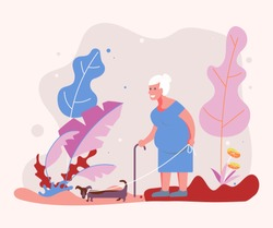 Old woman pet owner plays with her dog on a walk in forest. Flat Art Vector illustration