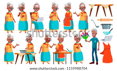 Old Woman Poses Set Vector. Black. Afro American. Elderly People. Senior Person. Aged. Active Grandparent. Joy. Presentation, Print, Invitation Design. Isolated Cartoon Illustration