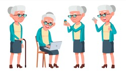 Old Woman Poses Set Vector. Elderly People. Senior Person. Aged. Caucasian Retiree. Smile. Web, Poster, Booklet Design. Isolated Cartoon Illustration