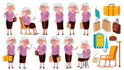 Old Woman Poses Set Vector. Elderly People. Senior Person. Aged. Friendly Grandparent. Web, Poster, Booklet Design. Isolated Cartoon Illustration
