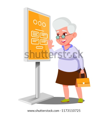 Old Woman Using ATM, Digital Terminal Vector. Interactive Informational Kiosk. Electronic Self Service Payment System. Isolated Flat Cartoon Illustration
