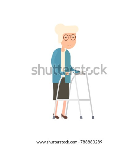 Old woman walking with zimmer frame. Vector image isolated on white background