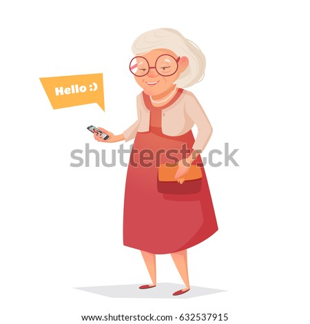 Old woman with glasses with phone. Woman in cartoon style. Bubble for text. Vector illustration.