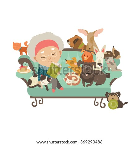 old woman with her cats and dogs