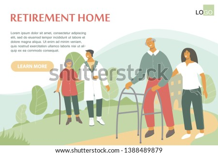 Old woman with walking stick talks with doctor. Retiree with Zimmer frame walks with nurse. Nursing home, long-term care facilities. Health worker helps retiree with his physical recovery.