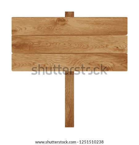 Old wooden banner sign or vintage wood signpost flat vector illustration