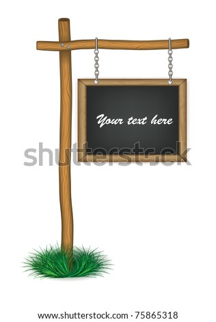 old wooden board hanging on chains eps 10
