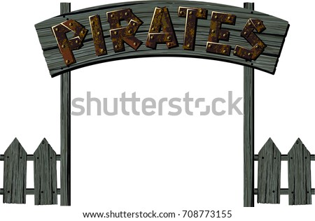 old wooden gate in a pirate