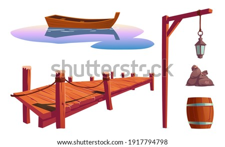 Old wooden pier on river, sea or lake, water surface with boat, pole with lantern, barrel, bags isolated on white background. Vector cartoon set, wharf for fishing, dock for canoe berth at pond Stockfoto ©