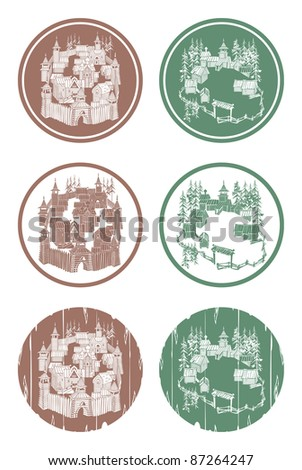 Old wooden Russian town, vector