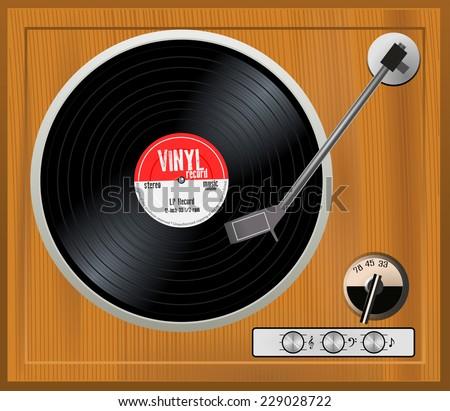 old wooden turntable vintage