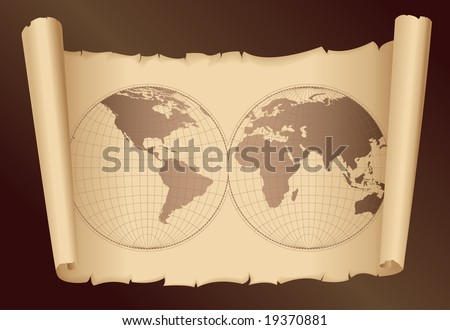 world map vector art. stock vector : old world map -